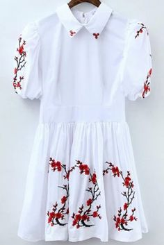 Buy White Lapel Embroidered Pleated Dress from abaday.com, FREE shipping Worldwide - Fashion Clothing, Latest Street Fashion At Abaday.com