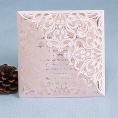 faire part de mariage de dentelle rose ou brune jm648 partir de 172 - Drag Mariage