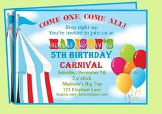 Circus or Carnival invitation