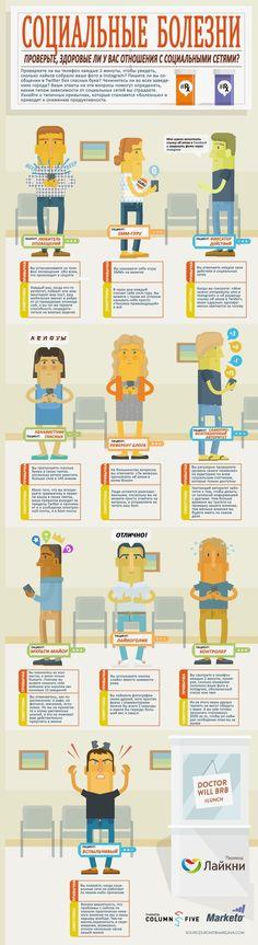 Проверьте, здоровые ли у вас отношения с социальными сетями? Представленная ниже инфографика позволит выявить 10 типичных привычек, которые превращаются в «социальные болезни».