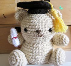 Make adjustments to available patterns for your own personalized amigurumi! Tips and link to pattern available! Unique Crochet, Love Crochet, Crochet Dolls, Crochet Yarn, Monkey Teddy Bear, Teddy Bears, Graduation Bear, Bear Doll, Crochet Stitches Patterns