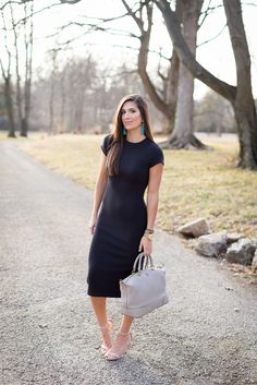 black midi dress, black open back dress, black cut out dress, free people midi dress, turquoise tassel earrings, spring fashion, spring outfit ideas, tory burch slouchy satchel, business casual outfit, little black dress,  turquoise jewelry, turquoise tassel earrings // grace wainwright from a southern drawl