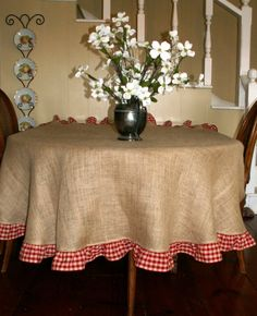 "Summer Fun  Natural Burlap Round Tablecloth with Red Checked Ruffle 78"". $60.00, via Etsy."