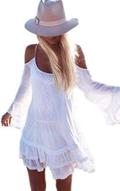 Zeagoo Sweet Sommer Damen chiffonkleid kurz Sommerkleid Damen V- Ausschnitt Rock Mini Kleider Partykleid