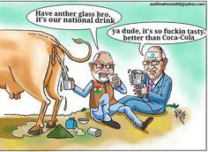 Narendra Modi and Netanyahu Drinking Urine Cartoon