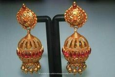 6797f7e8a Gold Antique Ruby Jhumka from Prakurthi ~ South India Jewels - motanu- jewelry.