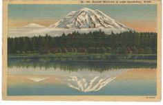 Mt Rainier Mirrored in Lake Spanaway Washington WA Vintage Postcard Linen Teich