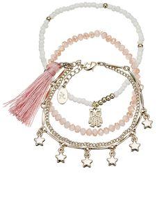 3 x Katy Star And Tassel Friendship Bracelet pack