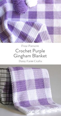 Crochet Purple Gingham Blanket - Free Pattern