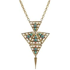 Preowned Juliana D&e Circa 1970's Gold Turquoise Moroccan Matrix Stone... ($1,494) ❤ liked on Polyvore featuring jewelry, necklaces, gold, pendant necklaces, gold chain necklace, gold pendant necklace, long gold necklace, stone pendant necklace and turquoise pendant necklace