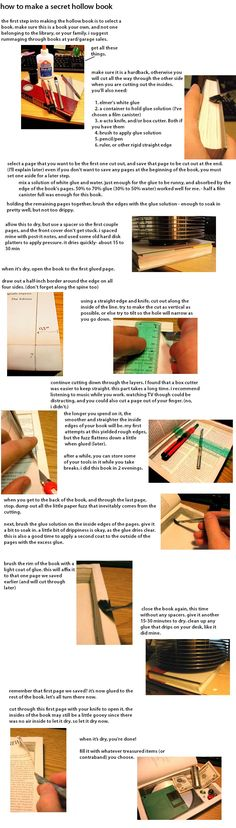 """Instructions on how to make a DIY book """"safe"""". This is a great way to hide stuff that is small but important: passports when not traveling; jewelry when you are; anything you might want to stash out of sight."""
