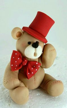 ~ FONDANT FUN ~Fondant /Gumpaste Teddy Bear with Bowtie & Top hat design