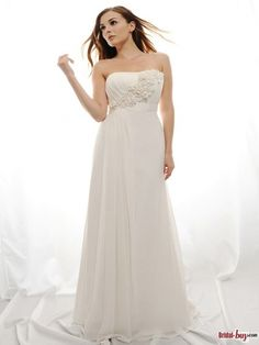 Elegant Flower Embellished Court Train Chiffon Informal/Simple Wedding Dresses