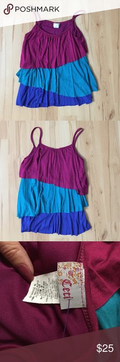 Layered Tank Playful layered tank. Very soft. Chest 14in. Length 20in. Tops Tank Tops