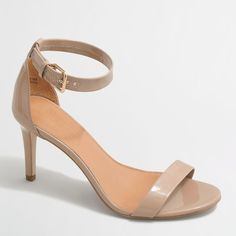 J.Crew Factory patent high-heel sandals ($89) via Polyvore featuring shoes, sandals, j crew shoes, high heel shoes, synthetic shoes, high heel sandals and patent leather shoes