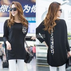 Casual flower pullover batwing shirt irregular blouse fashion tops $6.49