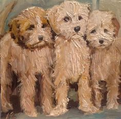 "Daily Paintworks - ""Three Lab a doodles"" by Annette Balesteri Labradoodles, Knife Art, Knife Painting, Fashion Painting, Roommates, Dog Paintings, Palette Knife, Fine Art Gallery, Brush Strokes"