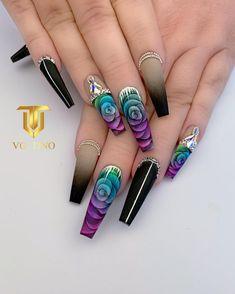 Dope Nail Designs, Green Nail Designs, Acrylic Nail Designs, Purple Nail Art, Green Nails, Black Nails, Dope Nails, 3d Nails, Neon Acrylic Nails