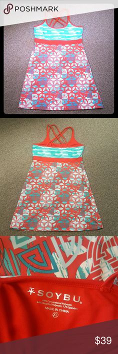SOYBU Dress Excellent like new condition red multi teal pattern size Xl.  Bra top built in. Soybu Dresses Mini