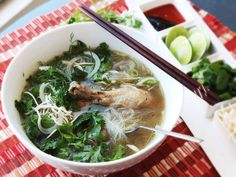 Pho bo—Vietnamese beef noodle #soup—may be more popular in the states, but its cousin pho ga, made with chicken, is easier to make, and in our book, just as tasty. Here's how to make it in under half an hour using a #pressurecooker. #recipe