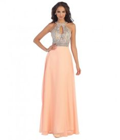 This striking gown features a halter neckline and sheer bodice garnished with geometric crystal beading. The keyhole bus...Price - $200.00-5zy5CFRt