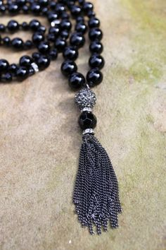 Hey, I found this really awesome Etsy listing at https://www.etsy.com/listing/220616543/long-beaded-necklace-hand-knotted-black