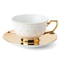 NEW Cristina Re High Society Kelly Polka Dot Teacup & Saucer
