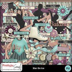 Star On Ice Combo Stars On Ice, Ice Dance, Digital Scrapbook Paper, Little Bow, Paint Shop, Photoshop Elements, Arabesque, Photo Book, Design Elements