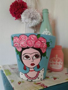 Flower Pot Crafts, Clay Pot Crafts, Diy And Crafts, Kids Crafts, Arts And Crafts, Painted Plant Pots, Painted Flower Pots, Craft Projects, Projects To Try