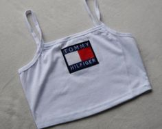 Reworked Tommy Hilfiger Crop Top/ Bandeau Style Top in White (size small) Pretty Outfits, Cool Outfits, Summer Outfits, Casual Outfits, Tommy Hilfiger Crop Top, Tommy Hilfiger Shirts, 90s Fashion, Fashion Outfits, Womens Fashion