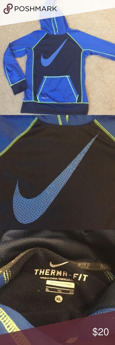 Two tone blue Nike hoodie Therma fit. 100% polyester Nike Shirts & Tops Sweatshirts & Hoodies