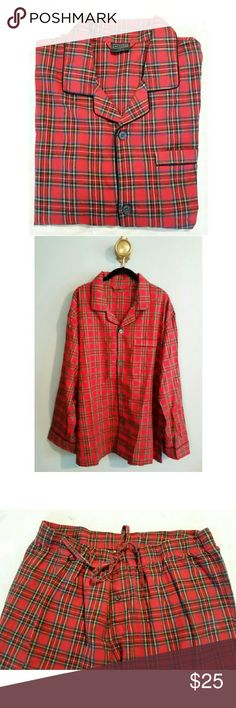 Men's Plaid PJ's Red Plaid Men's PJ'S. Size XL. Button Down Shirt With Drawstring Pants. Perfect For Christmas! Merona Other