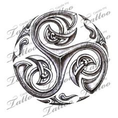 Triskele / Triskellion. I like the ends on these a lot. I would not want the bits between the spirals in the outer circle however.