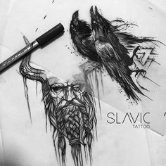 "Polubienia: 453, komentarze: 2 – SLAVIC tattoo (@slavic_tattoo) na Instagramie: ""Huginn and Muninn need Odin - part 2 for Breno @aocubo.mangabeiras @aocubo.chopperhead #raventattoo…"""