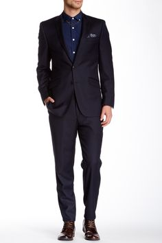 Ben Sherman | Kings Fit Navy Solid Peak Lapel Two Button Wool Suit | Nordstrom Rack