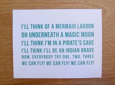Peter Pan Quote // You Can Fly // Nursery Art Print for Boys and Girls // Teal, Taupe, Navy