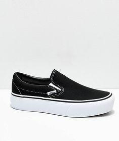 39125c2c00 Vans Slip-On Black   White Platform Shoes
