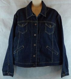 LEVI'S  JACKET Blue Stretch Long-sleeve  XL 16/18 Misses Fitted Cropped Denim…