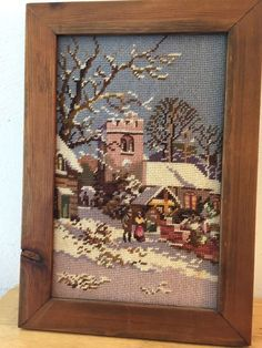 Vtg  Finished Cross Stitch Embroidery Framed Winter Town Scene 16x11.5 Lovely