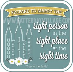 """LDS Young Women August lesson helps for """"Why is temple marriage important?"""" Much more than just handouts! www.Latter-DayVillage.com"""