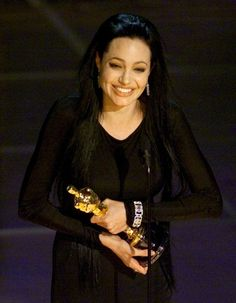 """3/7/14 12:54a Angelina Jolie receiving Best Supporting Actress for """"Girl, Interrupted"""" in 1999."""