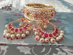 Chand balis with matching Hyderabadi bangle. Bridal jewellery