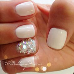 White Nails With Accent Gems