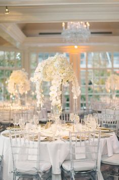 All white Fairmont Washington DC wedding by Elizabeth Fogarty Photography. As seen on United with Love, a source for DC wedding inspiration and ideas. Chiavari Chairs Wedding, Wedding Reception Chairs, Disney Wedding Centerpieces, Wedding Centrepieces, Wedding Favours, Wedding Decorations, Wedding Bible, Catholic Wedding, All White Wedding
