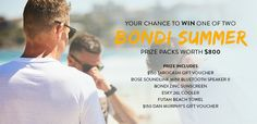 Prize includes a $150 Tarocash Gift Voucher, BOSE SoundLink Mini Bluetooth Speaker II, Bondi Zinc, Esky 26L Cooler, Futah Beach Towel & $150 Dan Murphy Voucher. Entries closes 10AM (AEDT) 16/02/17.
