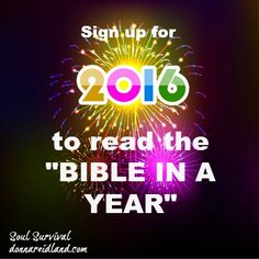 DO YOU HAVE A PLAN TO READ THE BIBLE IN 2016? - It's that time again! One year is coming to a close and a new one is beginning and, while it's important to make changes in our eating and exercise routines or our work and family routines, it's also important to evaluate how we are doing at connecting with God through prayer and Bible reading. - Soul Survival