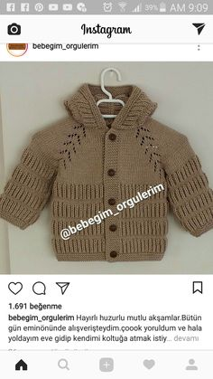 This Pin was discovered by ℒ. Baby Cardigan Knitting Pattern Free, Knitting Machine Patterns, Knitting For Kids, Hand Knitting, Baby Boy Cardigan, Baby Coat, Sewing Patterns For Kids, Boys Sweaters, Kids Coats