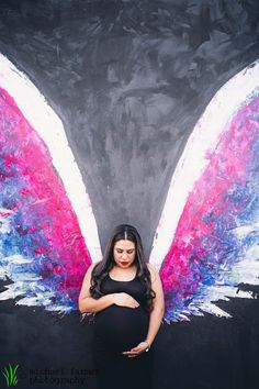 We got to meet up with the Fisher family in the Arts District of Los Angeles, not only to find some amazing street art, but to help document. Boy Maternity Photos, Pregnancy Photos, Maternity Photography, Amazing Street Art, Baby Family, Fisher, Wings, Colorful, Book