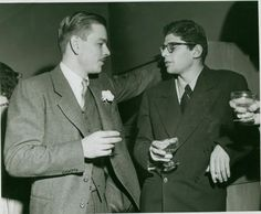 """lucien's wedding, 1952 Depressed, Allen wrote that Lucien """"looked like a toy doll with his neat mustache and plastered-down hair."""" He noted that """"Lucien wore a grey suit with a flower on his lapel and talked with all the old ladies, making them laugh. Lucien Carr, Kill Your Darlings, Hippie Movement, Allen Ginsberg, The Libertines, Beat Generation, Jack Kerouac, Book Writer, American Literature"""