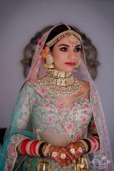 An Elegant Udaipur Wedding With Pastel Theme & A Poolside Mandap - Bride - Portraits - Weddinghairstyles Indian Bridal Outfits, Indian Bridal Fashion, Indian Bridal Makeup, Indian Bridal Wear, Royal Indian Wedding, Gothic Wedding, Indian Wear, Muslim Wedding Dresses, Bridal Dresses